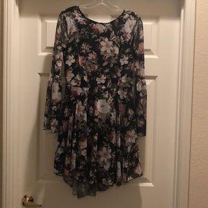 High-low black floral dress